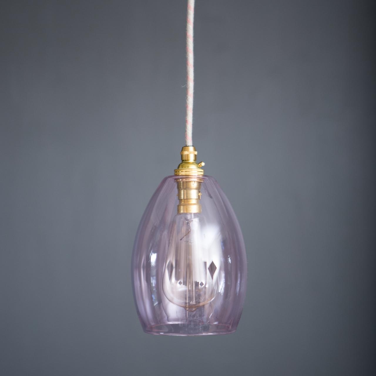 174eb40241f Pink glass pendant Light Bertie small - Glow Lighting