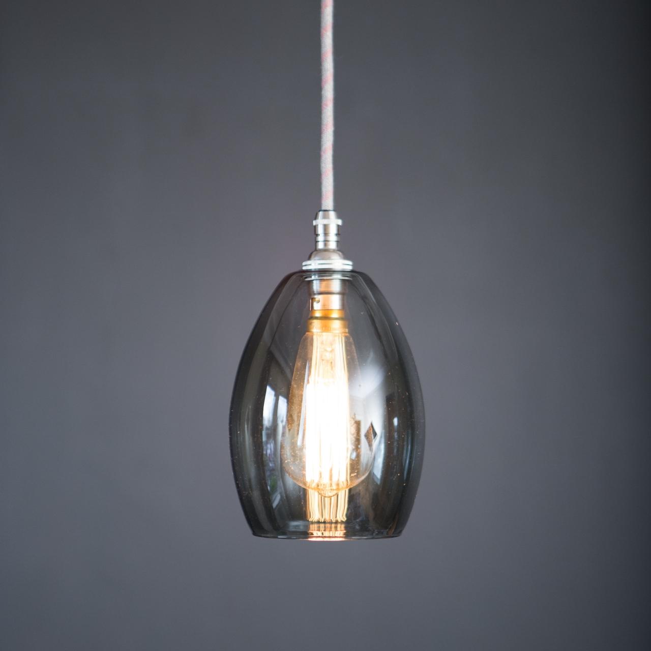 60da8b21f73 Bertie small Smoked glass pendant light - Glow Lighting